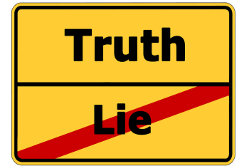 Truth, Lie, Street Sign, Contrast, Contrary, Note, direct sales