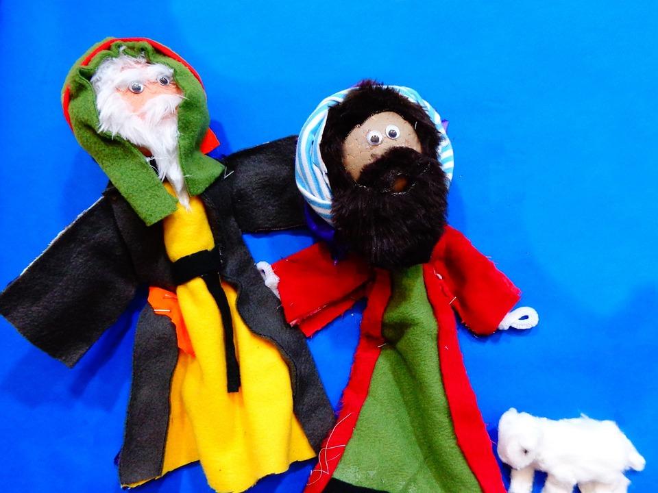 Christmas, Nativity, Shepherds, Puppets, Church, Art