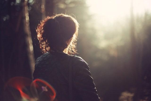 Paz De Espírito, Mulher, Menina, Outdoor, Floresta