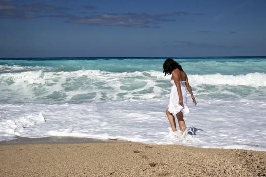 Ragazza, Mare, Beach, Giovane, Estate, Persone