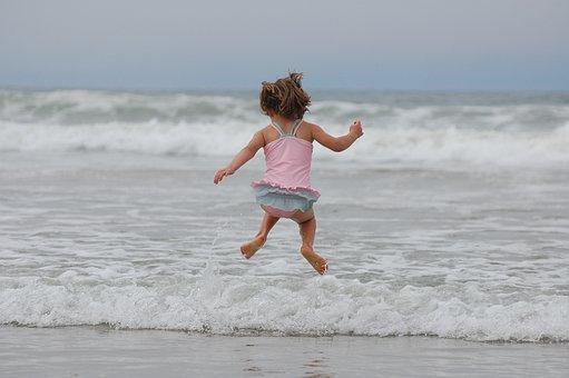 Fată, Beach, Ocean, Valuri, Jumping