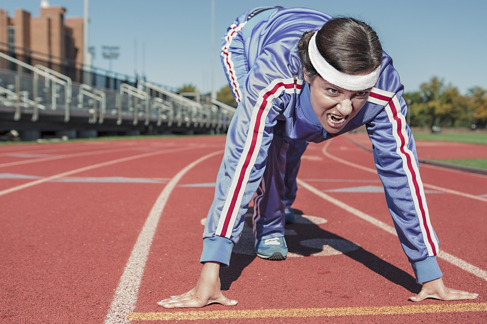 Woman, Athlete, Running, Exercise, Sprint, Cinder-Track
