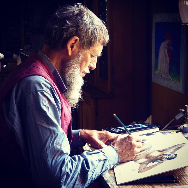 男, 高齢者, 描画, シニア, 古い, 人, 男性, 引退, 祖父, 座っている, 絵画, ヌード絵画