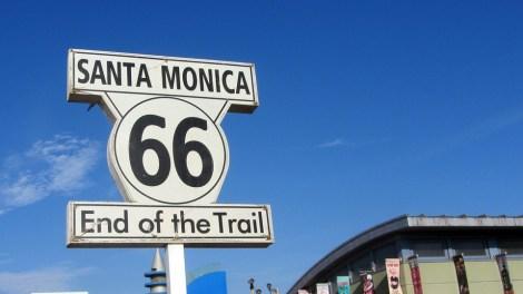 ルート66, サンタモニカ, 米国, 信号, ポスター, 道路, 高速道路, トランスポート, レーン, 鉛