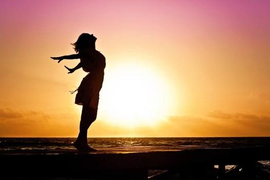 Donna, Felicità, Sunrise, Silhouette, Abito, Beach