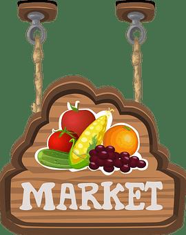 市場, 記号, サイン, ぶら下げ, 生産, 果物, 野菜, ストア