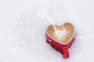 バレンタインの日, バレンタイン, 愛, コーヒー, 心のマグカップ, 雪, 冬