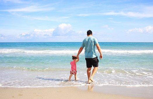 父親, 娘, ビーチ, 家族, お父ちゃん, 晴れ, 休暇, 所蔵の手, 父性