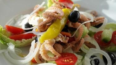 Fish, Squid, Octopus, Calamari, Salad, Cucumber, Tomato