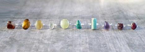 Colorful, Stone, Rings, Cabochon, Crystals, Healing, Chakra balancing, energy protection
