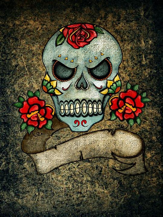 Totenkopf Rosen Hintergrund Kostenloses Bild Auf Pixabay