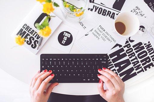Girl, Woman, Typing, Writing, Blogger