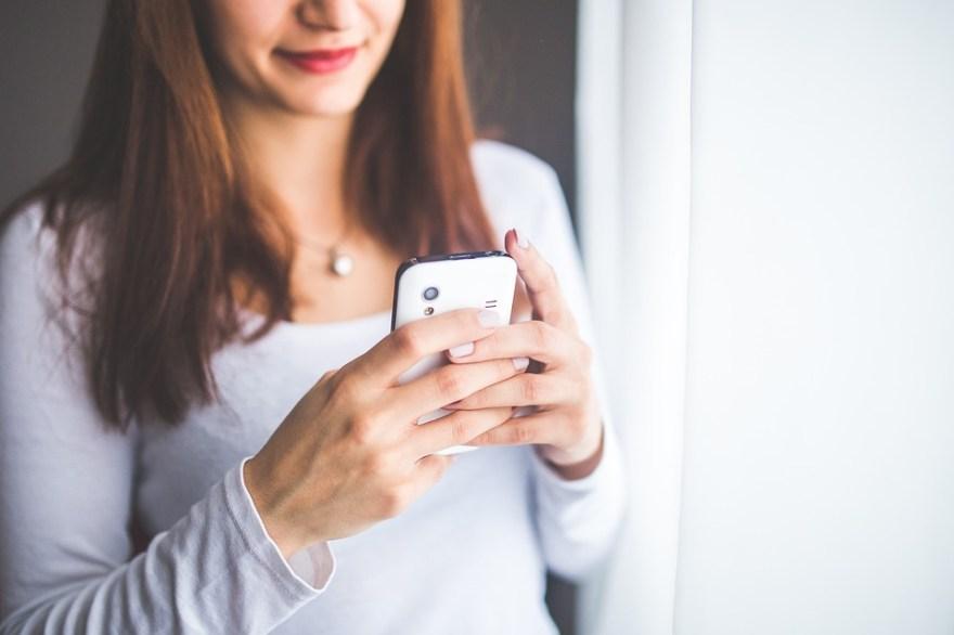 携帯電話, モバイル, スマート フォン, 電話, 技術, デバイス, ホワイト, クローズアップ, 女性