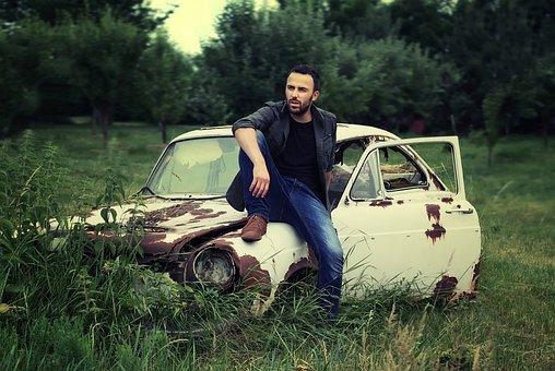 男, 肖像画, 大人, 座っている, リラックス, クラシックカー, 古い, 車