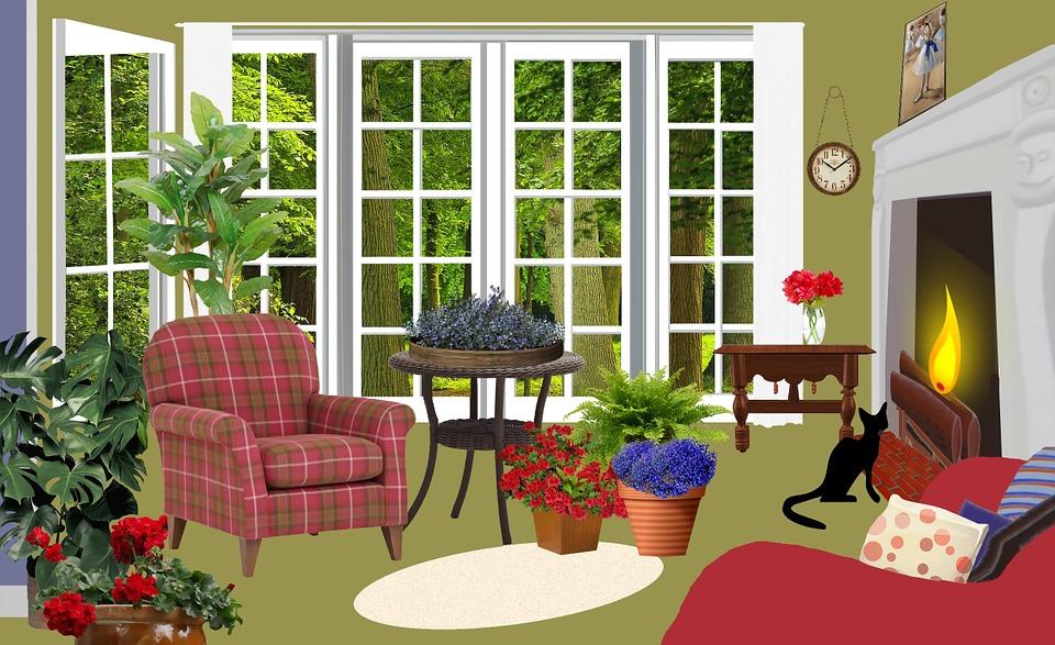 Free Illustration Living Room Living Fireplace Free
