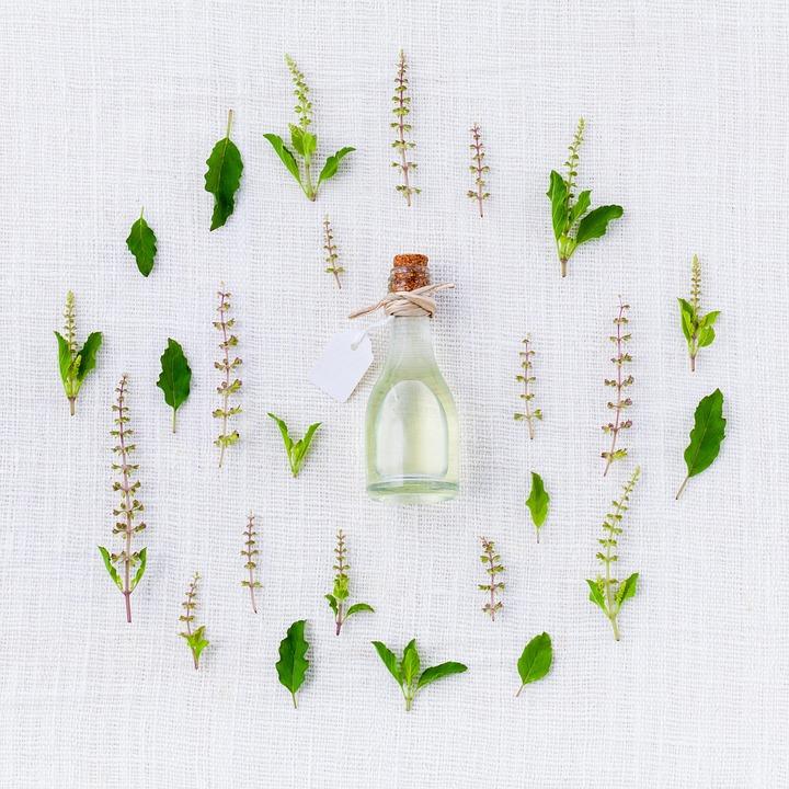 香り, バジル, スパイス, 緑, ホワイト, 本質的です, ハーブの, 有機, 芳香族, 香水, 薬用