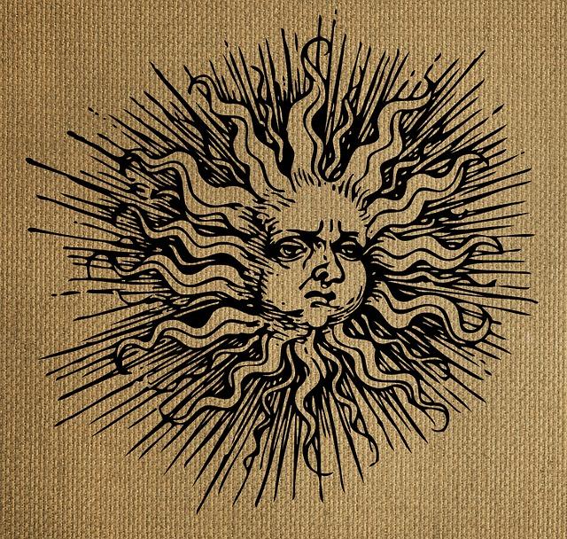 Free Illustration Sun Drawing Vintage Burlap Free