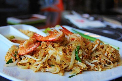 泰国的填充, 饿, 面条, 美味, 大虾, 曼谷, 泰国, 海鲜, 城市, 亚洲
