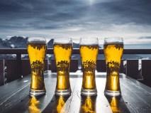 Birra, Vetro, Tavolo, Cielo, Montagne, Sci, Inverno