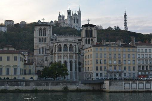 Lyon, Facades, Cathedral, Buildings