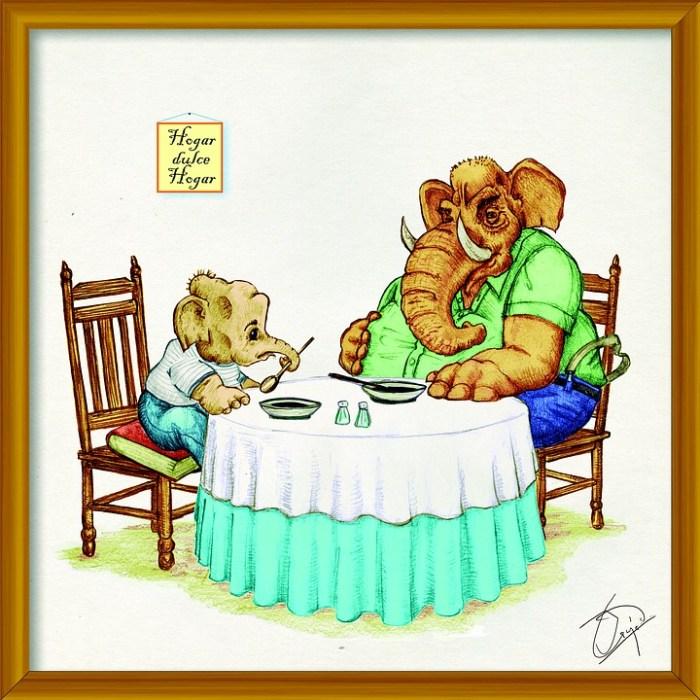 象, 夕食, 動物, かわいい, レストラン, 感謝, ユーモア, 漫画, 朝食, プレート, テーブル