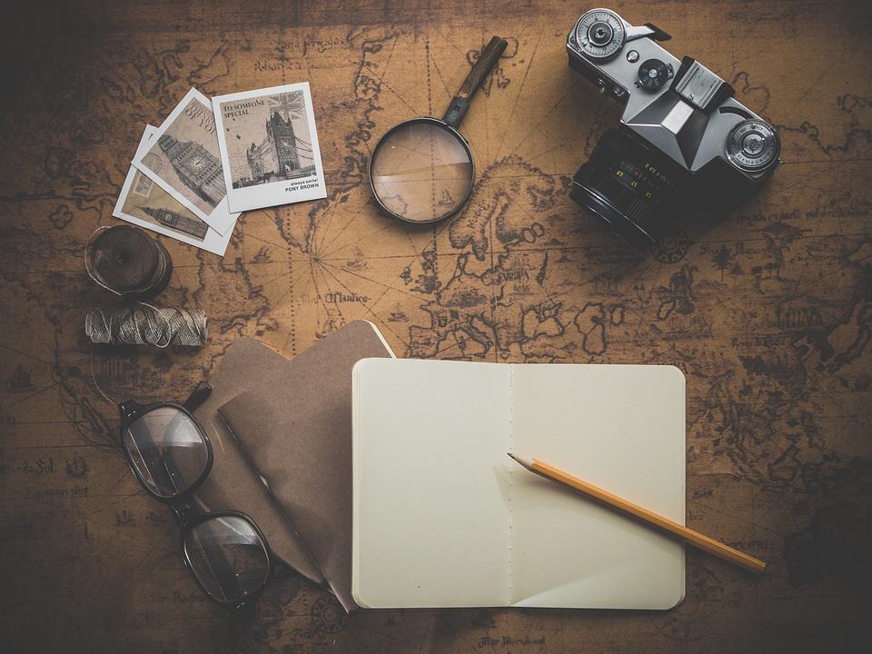 旅, アドベンチャー, フォト, 地図, 古い, レトロ, アンティーク, ビンテージ, 古典的な, ノート