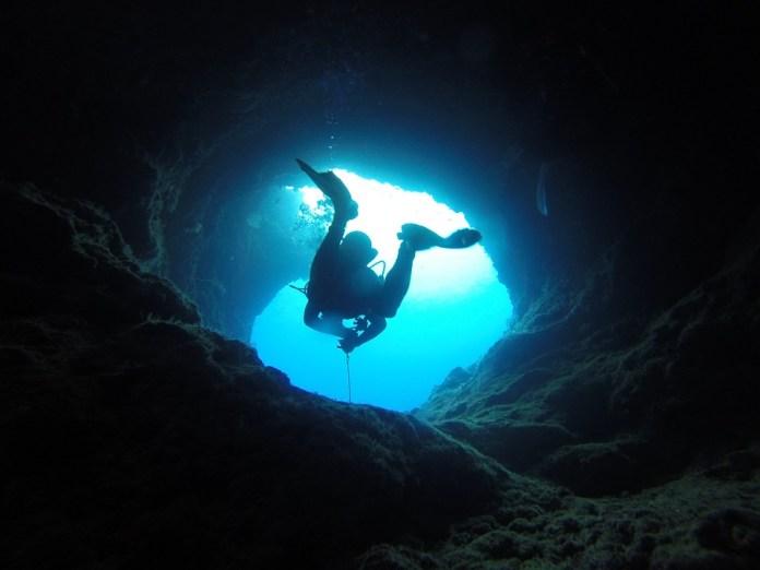 Cueva, Buceo, Palau, Pacífico, Azul