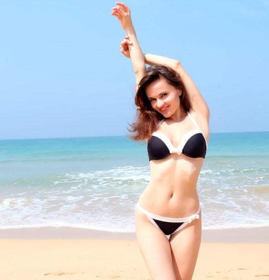 Ragazza, Beach, Mare, Bikini, Modello, La Magrezza