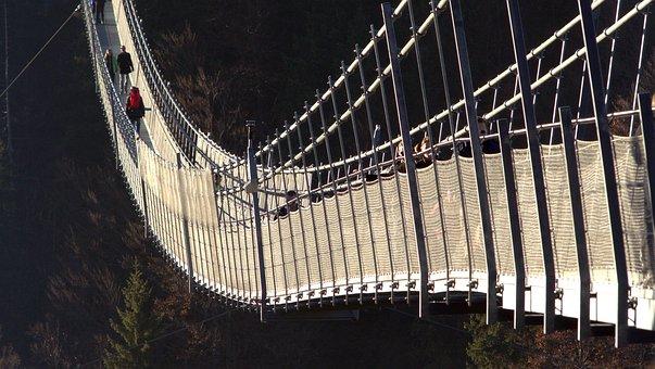 つり橋, 橋の建設, ブリッジ, 鋼橋, 歩道橋, 移行