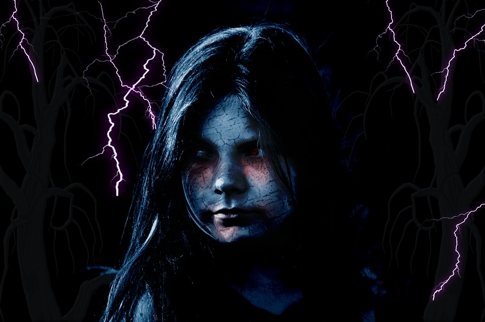 Free Illustration Child Girl Flashes Face Zombie