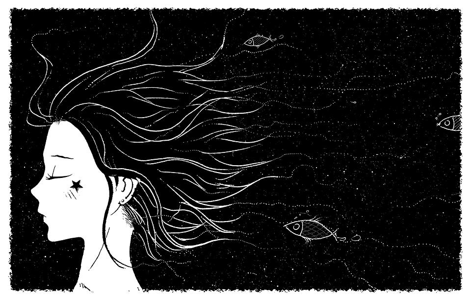 Free Illustration Fairy Tale Night Girl Fish Sky