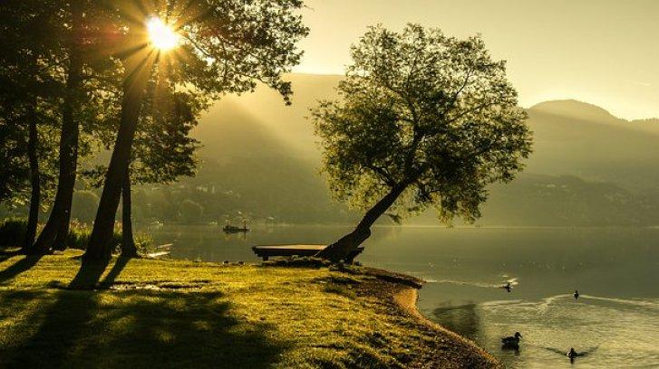 風景, 夏, 日の出, 照明, 太陽, 自然, 湖, 風光明媚です