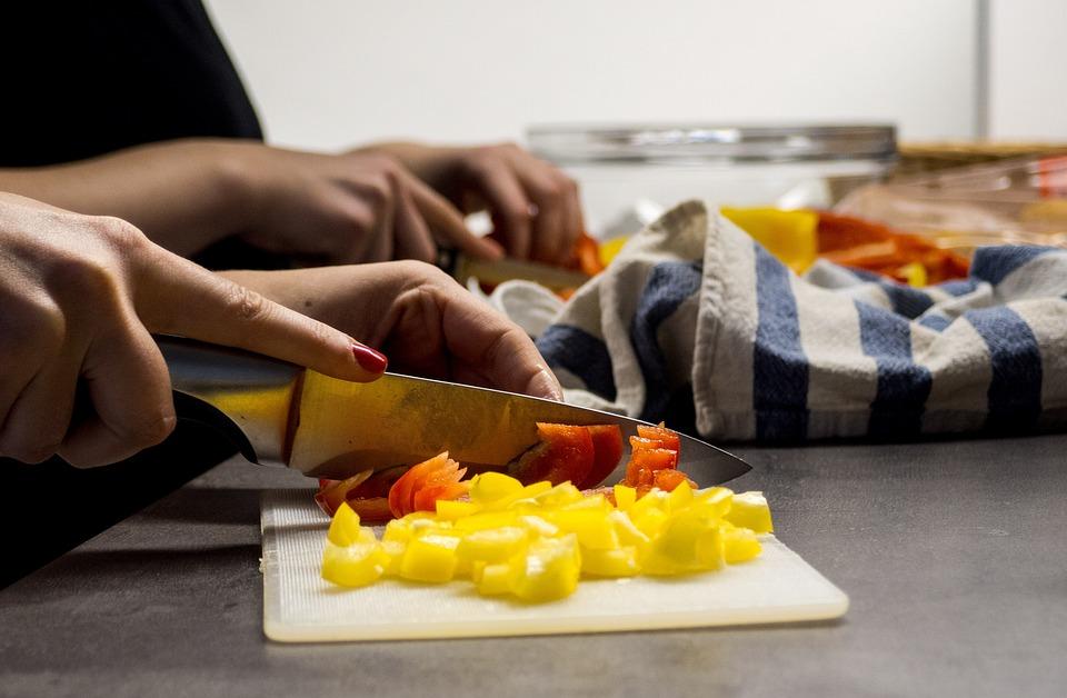 Mujer Manos, Cortar Las Verduras, Cocinar, Frutas