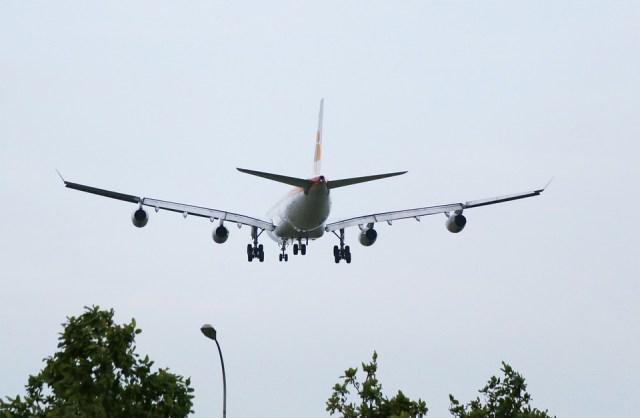 Avião, 4 Turbinas, Gigante, Voando, Comercial, Aeronave