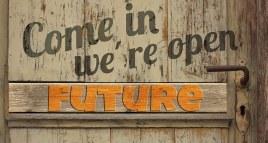 Türe Zukunft Öffnen Alt Holz Bretter Türgr