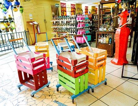 お土産店, カラフルなショッピングカート, 表示されます, お祝いの, 旅行