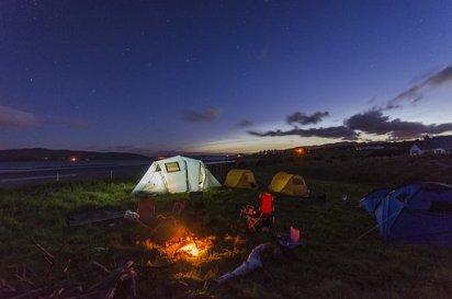 Camping, Tienda, Fuego, Verano