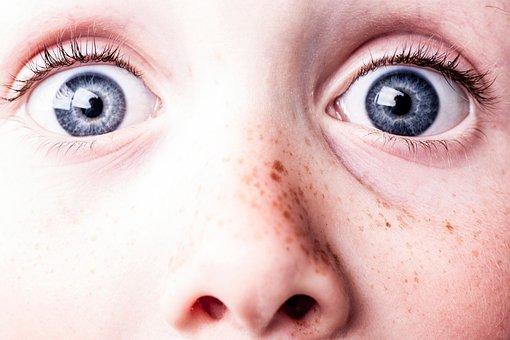 びっくり, 青い目, そばかす, 参照してください, 見る, 目, 驚愕する