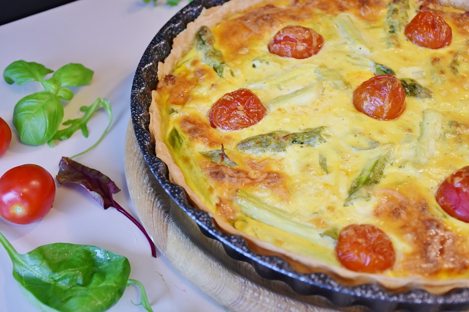 Quiche, Vegetable Cake, Tomatoes, Dough, Cheese
