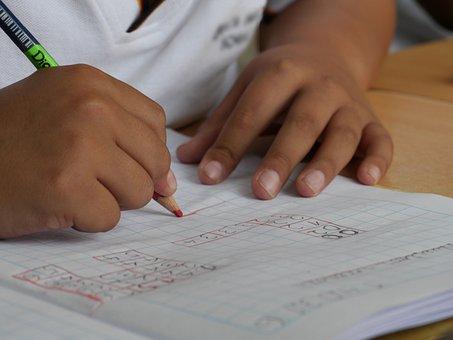 私は学生です, 学習, 学校, 子供が勉強します, 書きます, 手
