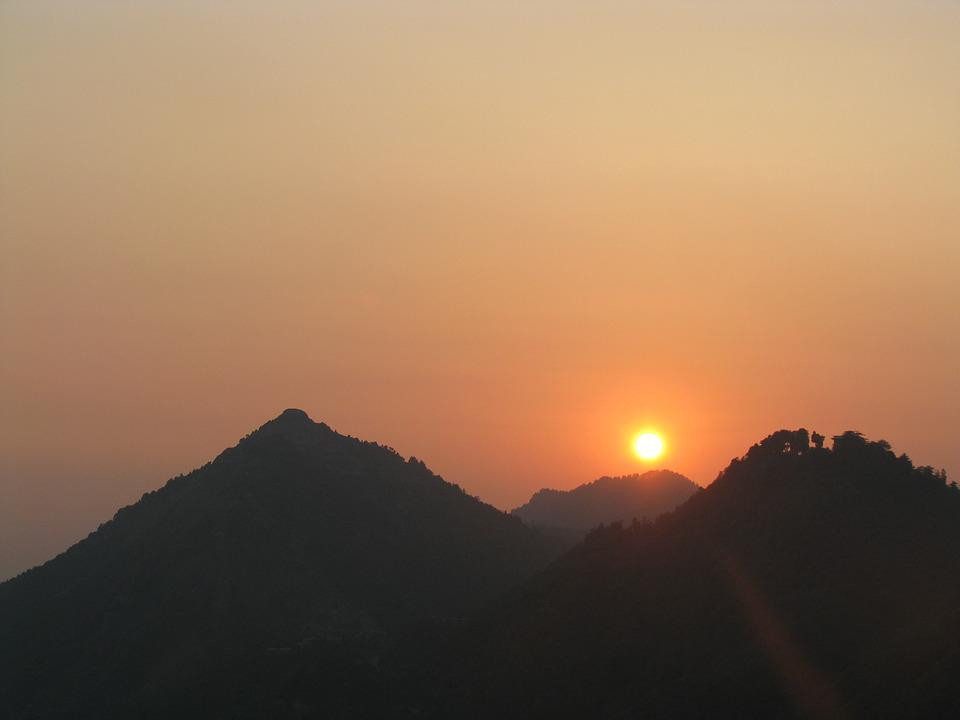 Orange Sunset, Mountains, Mussoorie, Himachal