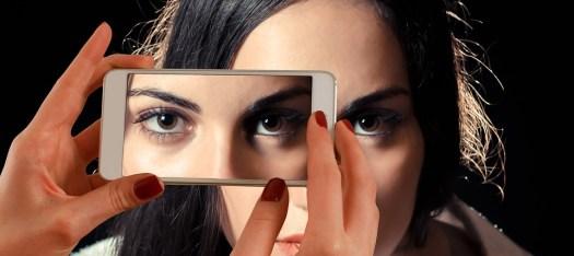 Smartphone, Faccia, Donna, Occhi, Vista, Doppio