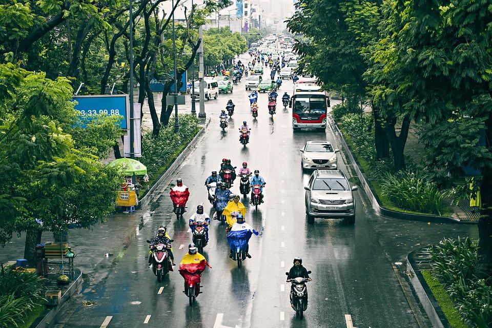 Rain, Urban, Traffic, Motorcycle, Road, Wet, Saigon