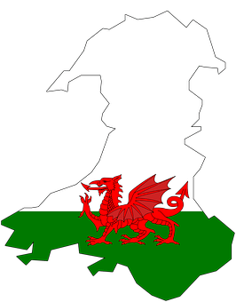 Wales, Map, Flag, Coat Of Arms, Contour