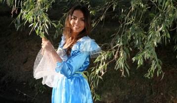 Girl, Princess, Willow, Dress, Blue, Beauty, Nature
