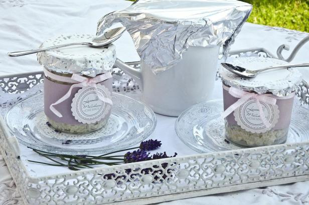 Glass, Cover, Dessert, Rice Pudding, Pot, White, Tray