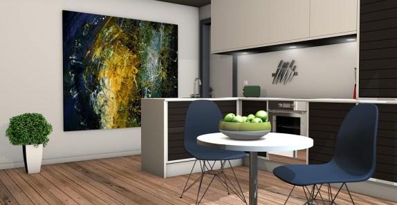 Cocina, Sala De Estar, Apartamento, Renderizado