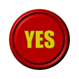 A red circular button with YES written in the center in yellow