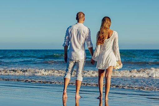 結婚式, ビーチ, 愛, カップル, 若いカップル, 結婚, 夫婦, 新郎新婦