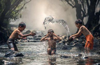 Children, River, Water, The Bath, Splash, Laugh, Have fun, Positive